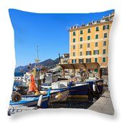 Liguria - Harbor In Camogli Throw Pillow