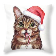 Cat Santa Christmas Animal Throw Pillow by Olga Shvartsur