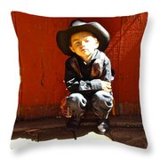 Lil Cowboy Afternoon Throw Pillow