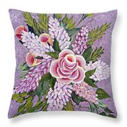 Lilac And Rose Bouquet Throw Pillow