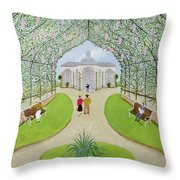 Lilac Arbour Oil On Board Throw Pillow