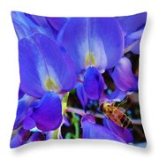 Lilac Blossom And Honey Bee Throw Pillow