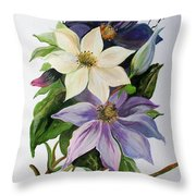 Lilac Clematis Throw Pillow