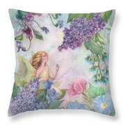 Lilac Enchanting Flower Fairy Throw Pillow