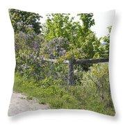 Lilac Fence I Throw Pillow