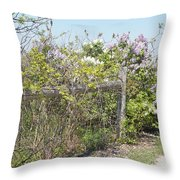 Lilac Fence II Throw Pillow