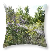 Lilac Fence IIi Throw Pillow