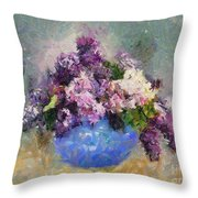 Lilac In Blue Vase Throw Pillow