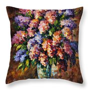 Lilac - Palette Knife Oil Painting On Canvas By Leonid Afremov Throw Pillow