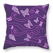 Lilac Silhouette Of Woman With Butterflies Throw Pillow
