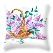 Lilac Vintage Impressionism Painting Throw Pillow