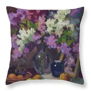 Lilacs And Blue Vase Throw Pillow