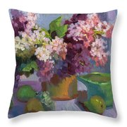 Lilacs And Pears Throw Pillow