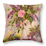 Lilacs And Peony Throw Pillow