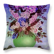 Lilacs And Queen Anne's Lace In Pink And Purple Throw Pillow