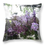 Lilacs Hanging Basket Window Reflection - Dreamy Lilacs Floral Art Throw Pillow