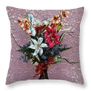Lilies And Orchids Digitized Purple Throw Pillow