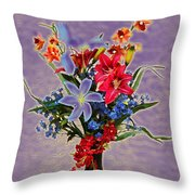 Lilies And Orchids Topaz II Throw Pillow