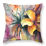 Lilies In A Vase Throw Pillow