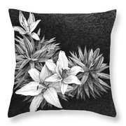 Lilies In Pen And Ink Throw Pillow