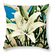 Lilies In White Throw Pillow