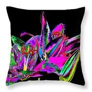 Lilies Pop Art Throw Pillow