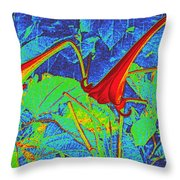Lilies Turned Red Throw Pillow