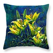 Lilies Throw Pillow by Zaira Dzhaubaeva
