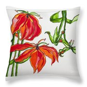 Lilies In Orange Throw Pillow