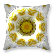 Lily And Daffodil Kaleidoscope Under Glass Throw Pillow
