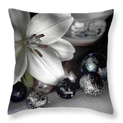 Lily And Marbles Throw Pillow