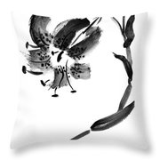 Lily In Black Throw Pillow