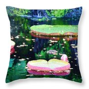 Lily Leaves Painterly  Throw Pillow