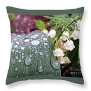 Lily Of The Valley After The Rain Throw Pillow