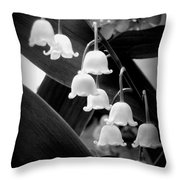 Lily Of The Valley Black And White Throw Pillow