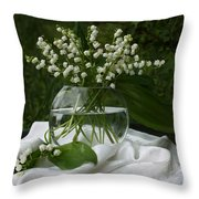 Lily-of-the-valley Bouquet Throw Pillow by Luv Photography