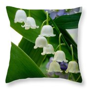 Lily Of The Valley Green Throw Pillow