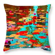 Lily Pads And Koi Colorful Water Garden In Bloom Waterlilies At The Lake Quebec Art Carole Spandau  Throw Pillow