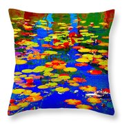 Lily Pads And Koi  Pond Waterlilies Summer Gardens Beautiful Blue Waters Quebec Art Carole Spandau  Throw Pillow