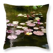Lily Pads In The Fountain Throw Pillow