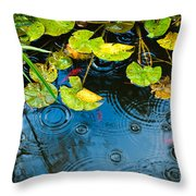 Lily Pads Ripples And Gold Fish Throw Pillow