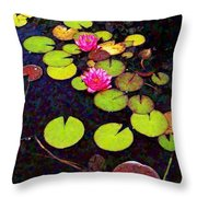 Lily Pads With Pink Flowers - Square Throw Pillow