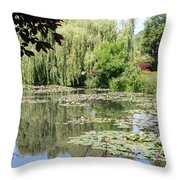 Lily Pond - Monets Garden - France Throw Pillow
