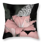 Lily With Butterly  Throw Pillow