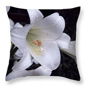 Lily With Rain Droplets Throw Pillow