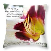 Lily With Scripture Throw Pillow