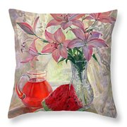 Lily With Watermelon Throw Pillow