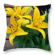 Lily Yellow Flower Throw Pillow