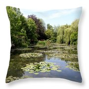 Lilypond Monets Garden Throw Pillow