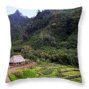 Limahuli Taro Fields In Kauai Throw Pillow